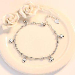 NEW 925 Sterling Silver Simple Heart Bracelet